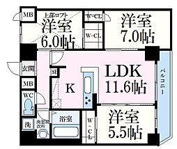 グルーブAriaトアロード 14階3LDKの間取り