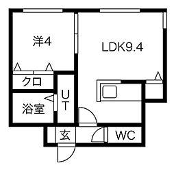 札幌市営南北線 すすきの駅 徒歩10分の賃貸マンション 5階1LDKの間取り
