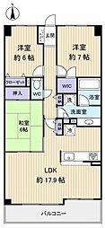 ドメイン八千代勝田台[6階]の間取り