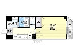 京阪本線 千林駅 徒歩6分の賃貸マンション 3階1Kの間取り
