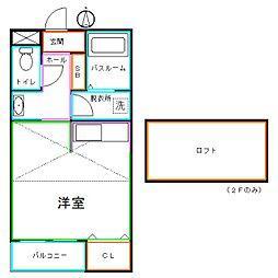 JR中央本線 武蔵小金井駅 徒歩8分の賃貸アパート 1階ワンルームの間取り
