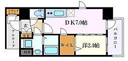 名古屋市営東山線 新栄町駅 徒歩11分の賃貸マンション 8階1DKの間取り