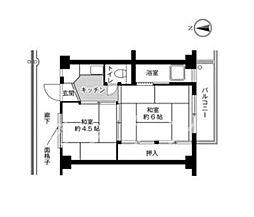 ビレッジハウス片山2号棟[401号室]の間取り