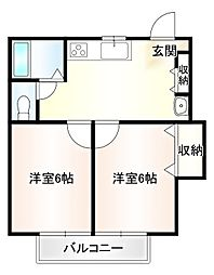 栄ハイツ 2階2DKの間取り