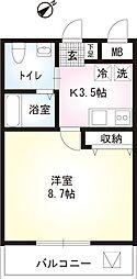 神奈川県相模原市中央区上矢部3丁目の賃貸マンションの間取り