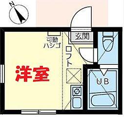 JR横須賀線 保土ヶ谷駅 徒歩11分の賃貸アパート 1階ワンルームの間取り