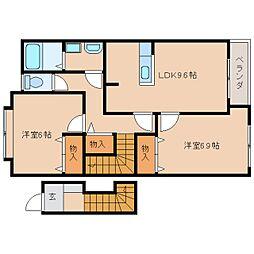 JR桜井線 櫟本駅 徒歩15分の賃貸アパート 2階2LDKの間取り