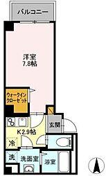 京成千葉線 千葉中央駅 徒歩3分の賃貸マンション 3階1Kの間取り