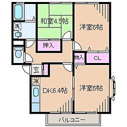 神奈川県横浜市港北区篠原町の賃貸アパートの間取り