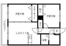 Dearcort kawanami[302号室]の間取り