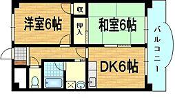 京都府城陽市富野西垣内の賃貸マンションの間取り