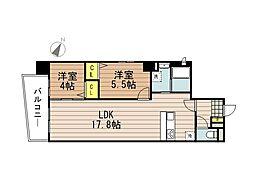 JR京浜東北・根岸線 さいたま新都心駅 徒歩10分の賃貸マンション 8階2LDKの間取り