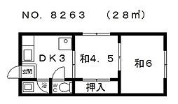 冨士ハイツ[2階]の間取り