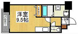 北九州都市モノレール小倉線 旦過駅 徒歩3分の賃貸マンション 2階ワンルームの間取り