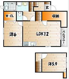 エスポワール高野A[2階]の間取り