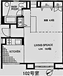 アパートメント雪谷 1階1LDKの間取り