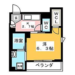 ハイツトモエ 3階1Kの間取り
