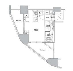 コンフォリア渋谷WEST 2階ワンルームの間取り