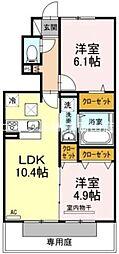 岡山県岡山市東区瀬戸町瀬戸丁目なしの賃貸アパートの間取り