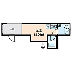 KOSTIC MINOWA 3階ワンルームの間取り