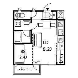 新築 デザイナーズアパート クレイラ元町 所沢14分 2階1LDKの間取り