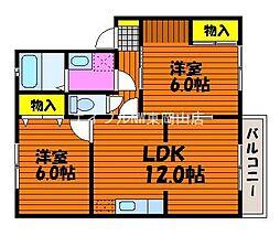 岡山県岡山市東区松新町丁目なしの賃貸アパートの間取り