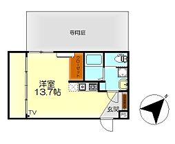M・テラス広古新開 −エイトホームー 1階ワンルームの間取り