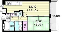 芦屋コンチェルト 1階1LDKの間取り
