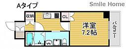 南海線 岸里玉出駅 徒歩6分の賃貸マンション 7階1Kの間取り