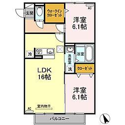 愛知県安城市百石町2丁目の賃貸アパートの間取り