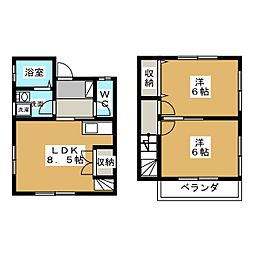 [テラスハウス] 群馬県伊勢崎市田部井町2丁目 の賃貸【/】の間取り