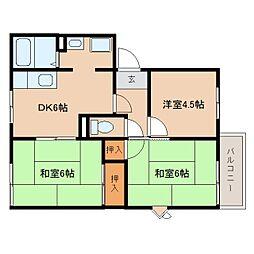 奈良県橿原市小綱町の賃貸アパートの間取り