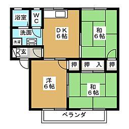 サニーコート天道B棟[2階]の間取り