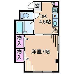 神奈川県横浜市港北区日吉2丁目の賃貸マンションの間取り