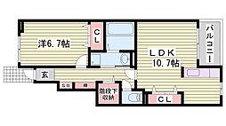 JR東海道・山陽本線 西明石駅 徒歩20分の賃貸アパート 1階1LDKの間取り