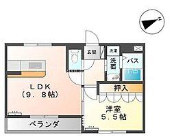 岡山県倉敷市西阿知町西原丁目なしの賃貸アパートの間取り