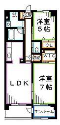 JR中央本線 吉祥寺駅 バス19分 新川下車 徒歩2分の賃貸マンション 3階2LDKの間取り