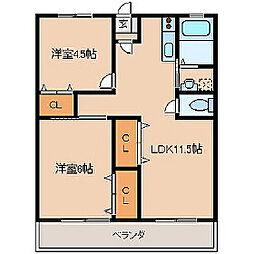 福岡県久留米市荘島町の賃貸マンションの間取り