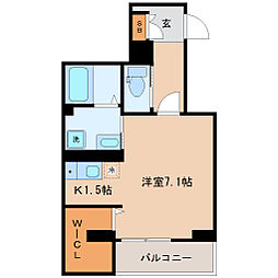 skye S1 2階ワンルームの間取り