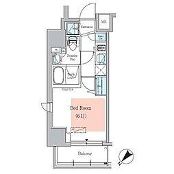 京急本線 青物横丁駅 徒歩2分の賃貸マンション 7階1Kの間取り