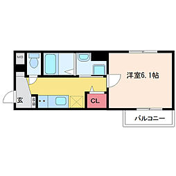 フォンテーヌ神崎川 3階1Kの間取り