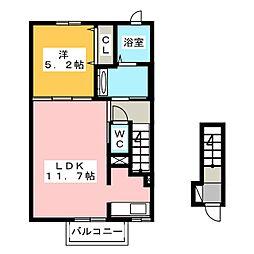 静岡県富士市厚原の賃貸アパートの間取り
