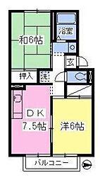 賃貸アパート リベラルフラット[202号室]の間取り