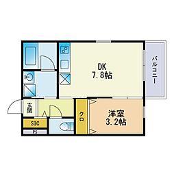 (仮称)和白東三丁目B棟新築アパート 2階1DKの間取り