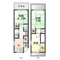 阪急宝塚本線 庄内駅 徒歩11分の賃貸テラスハウス 3Kの間取り