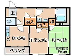 京都府城陽市寺田西ノ口の賃貸アパートの間取り