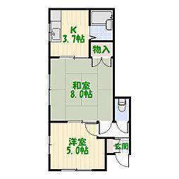 高木コーポ[1階]の間取り