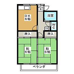 ロイヤルメゾンD[2階]の間取り