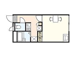 広島電鉄6系統 江波駅 徒歩11分の賃貸マンション 3階1Kの間取り