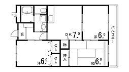 兵庫県神戸市須磨区車大道の賃貸マンションの間取り